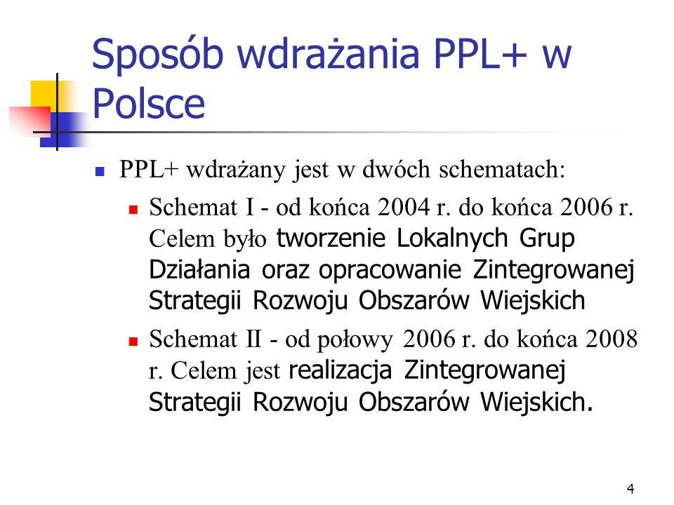 4 Sposób wdrażania PPL+ w Polsce PPL+ wdrażany jest w dwóch schematach: Schemat I - od końca 2004 r. do końca 2006 r. Celem było tworzenie Lokalnych G