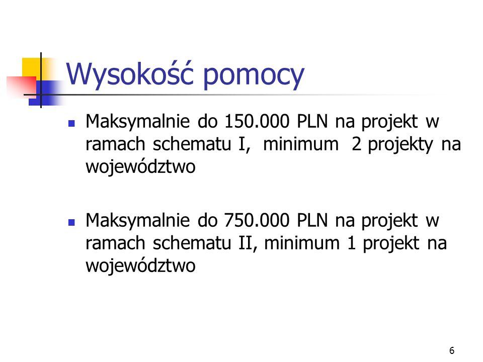 6 Wysokość pomocy Maksymalnie do 150.000 PLN na projekt w ramach schematu I, minimum 2 projekty na województwo Maksymalnie do 750.000 PLN na projekt w