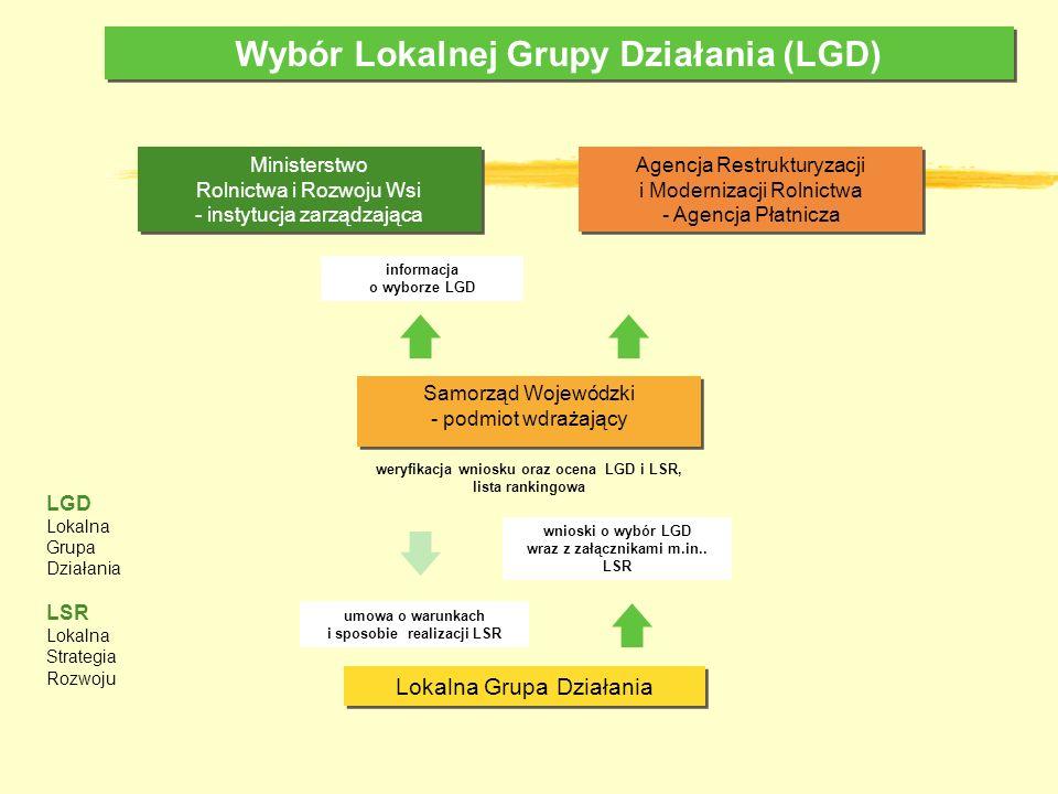 Wybór Lokalnej Grupy Działania (LGD) Lokalna Grupa Działania Agencja Restrukturyzacji i Modernizacji Rolnictwa - Agencja Płatnicza informacja o wyborz