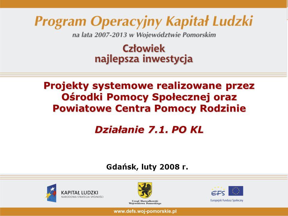 Projekty systemowe realizowane przez Ośrodki Pomocy Społecznej oraz Powiatowe Centra Pomocy Rodzinie Działanie 7.1.