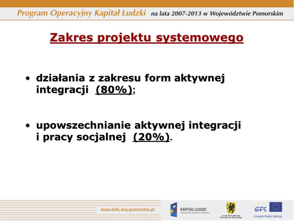 Zakres projektu systemowego działania z zakresu form aktywnej integracji (80%) ;działania z zakresu form aktywnej integracji (80%) ; upowszechnianie aktywnej integracji i pracy socjalnej (20%).upowszechnianie aktywnej integracji i pracy socjalnej (20%).