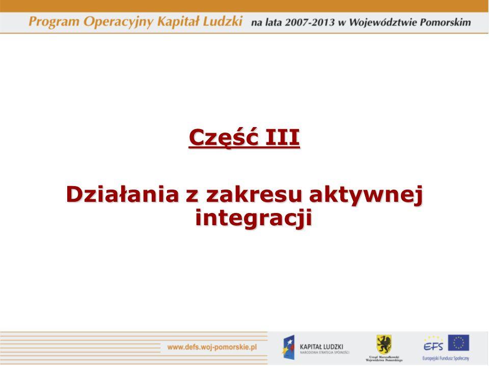 Część III Działania z zakresu aktywnej integracji