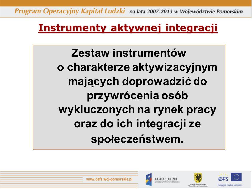 Instrumenty aktywnej integracji Zestaw instrumentów o charakterze aktywizacyjnym mających doprowadzić do przywrócenia osób wykluczonych na rynek pracy oraz do ich integracji ze społeczeństwem.