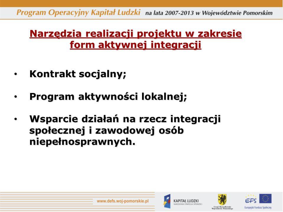 Narzędzia realizacji projektu w zakresie form aktywnej integracji Kontrakt socjalny; Kontrakt socjalny; Program aktywności lokalnej; Program aktywności lokalnej; Wsparcie działań na rzecz integracji społecznej i zawodowej osób niepełnosprawnych.