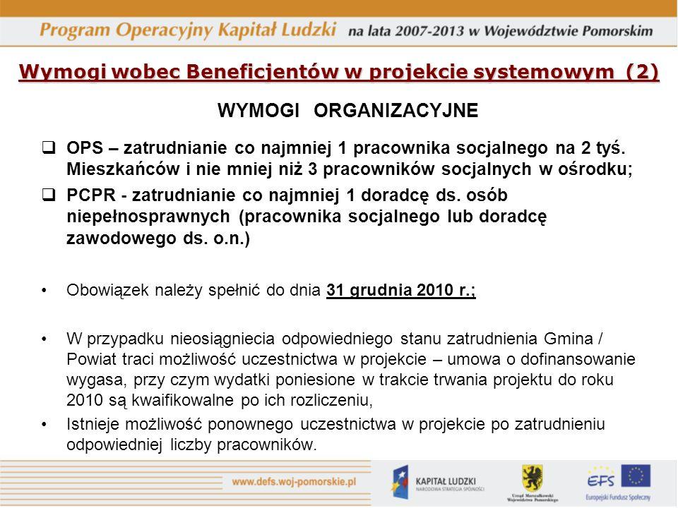 Wymogi wobec Beneficjentów w projekcie systemowym (2) WYMOGI ORGANIZACYJNE OPS – zatrudnianie co najmniej 1 pracownika socjalnego na 2 tyś.