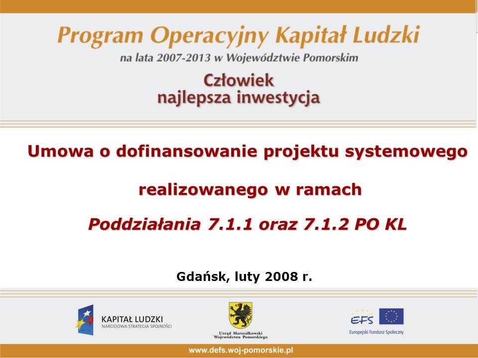 Umowa o dofinansowanie projektu systemowego realizowanego w ramach Poddziałania 7.1.1 oraz 7.1.2 PO KL realizowanego w ramach Poddziałania 7.1.1 oraz