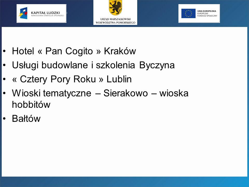 Hotel « Pan Cogito » Kraków Usługi budowlane i szkolenia Byczyna « Cztery Pory Roku » Lublin Wioski tematyczne – Sierakowo – wioska hobbitów Bałtów