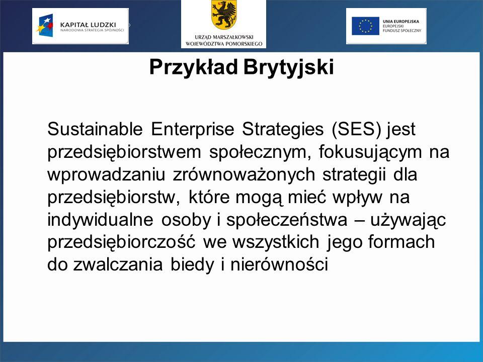 Przykład Brytyjski Sustainable Enterprise Strategies (SES) jest przedsiębiorstwem społecznym, fokusującym na wprowadzaniu zrównoważonych strategii dla przedsiębiorstw, które mogą mieć wpływ na indywidualne osoby i społeczeństwa – używając przedsiębiorczość we wszystkich jego formach do zwalczania biedy i nierówności