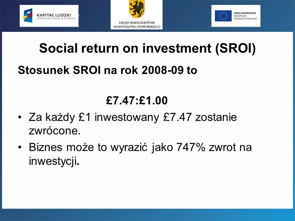Social return on investment (SROI) Stosunek SROI na rok 2008-09 to £7.47:£1.00 Za każdy £1 inwestowany £7.47 zostanie zwrócone. Biznes może to wyrazić