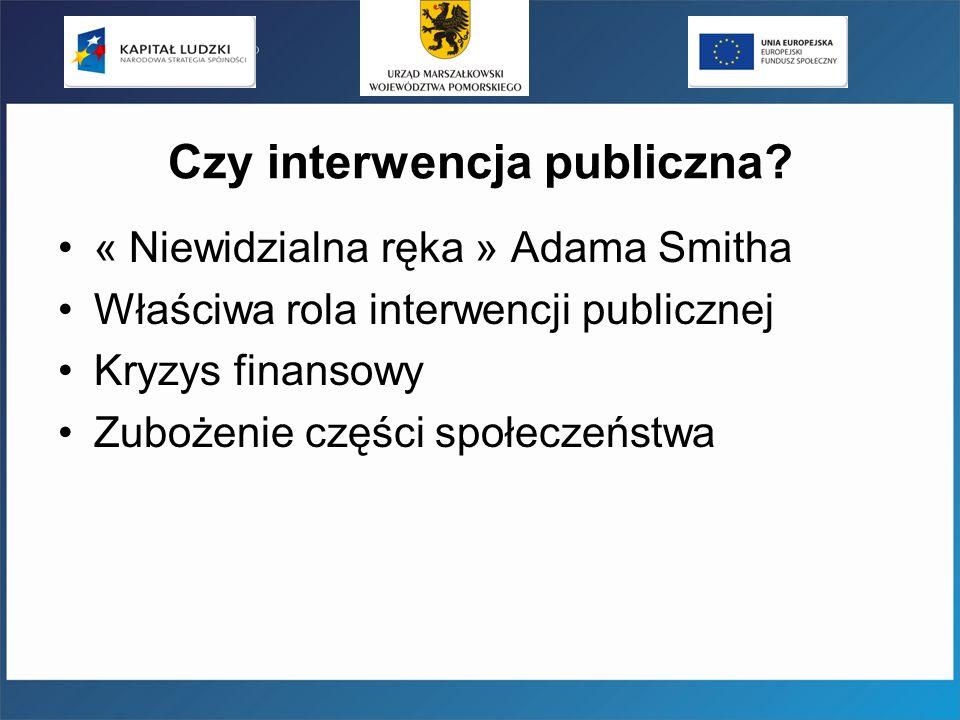 Czy interwencja publiczna? « Niewidzialna ręka » Adama Smitha Właściwa rola interwencji publicznej Kryzys finansowy Zubożenie części społeczeństwa