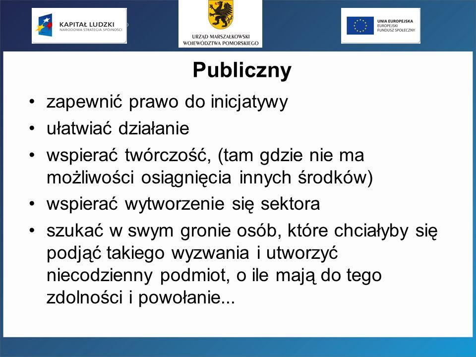 Publiczny zapewnić prawo do inicjatywy ułatwiać działanie wspierać twórczość, (tam gdzie nie ma możliwości osiągnięcia innych środków) wspierać wytworzenie się sektora szukać w swym gronie osób, które chciałyby się podjąć takiego wyzwania i utworzyć niecodzienny podmiot, o ile mają do tego zdolności i powołanie...