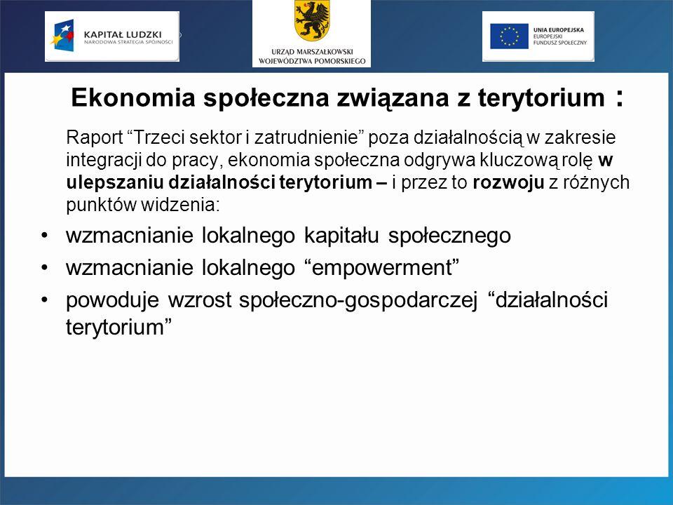 Ekonomia społeczna związana z terytorium : Raport Trzeci sektor i zatrudnienie poza działalnością w zakresie integracji do pracy, ekonomia społeczna o