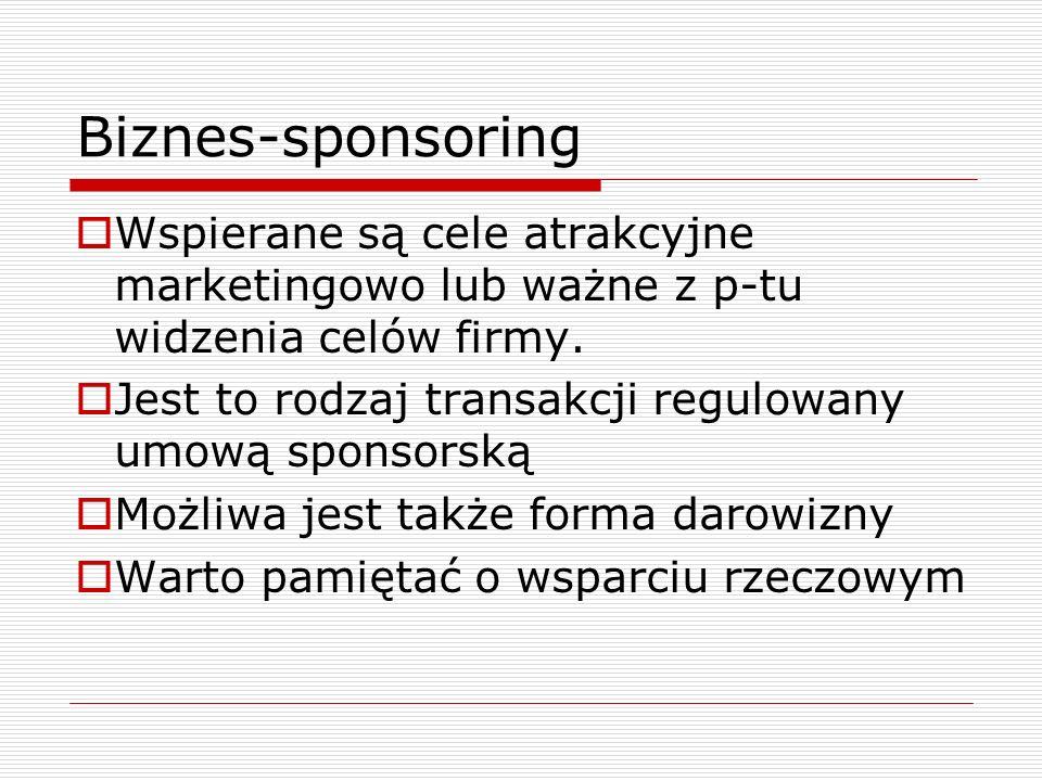Biznes-sponsoring Wspierane są cele atrakcyjne marketingowo lub ważne z p-tu widzenia celów firmy. Jest to rodzaj transakcji regulowany umową sponsors