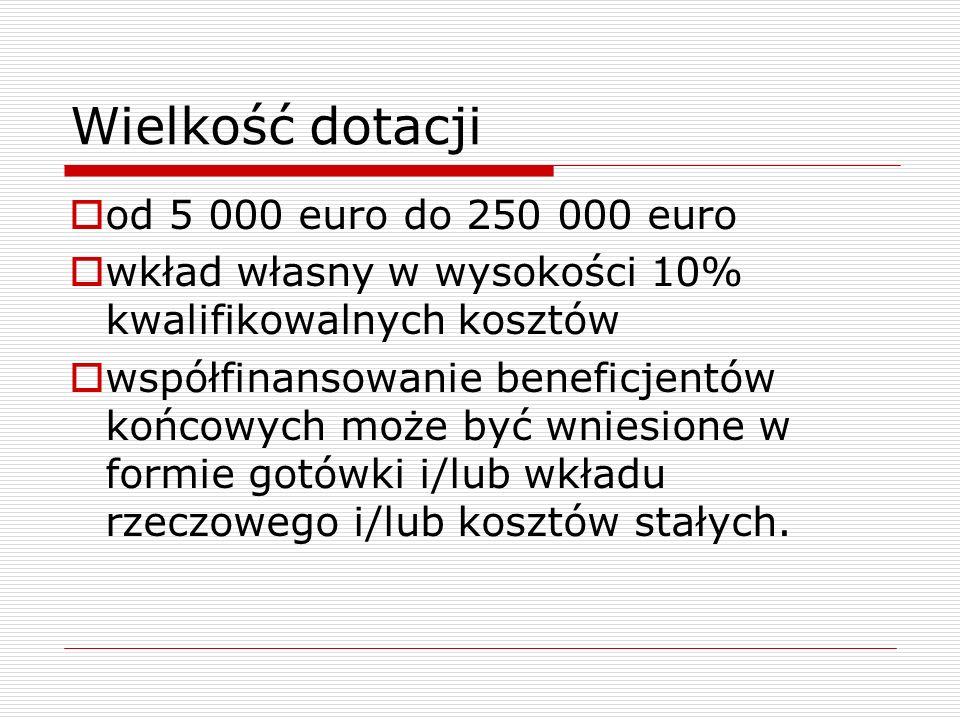 Wielkość dotacji od 5 000 euro do 250 000 euro wkład własny w wysokości 10% kwalifikowalnych kosztów współfinansowanie beneficjentów końcowych może by