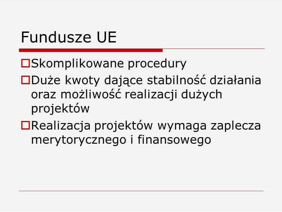 Fundusze UE Skomplikowane procedury Duże kwoty dające stabilność działania oraz możliwość realizacji dużych projektów Realizacja projektów wymaga zapl