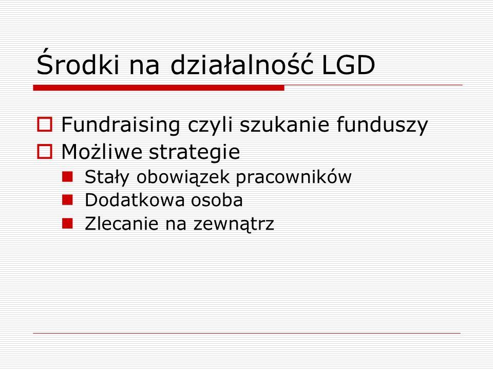 Środki na działalność LGD Fundraising czyli szukanie funduszy Możliwe strategie Stały obowiązek pracowników Dodatkowa osoba Zlecanie na zewnątrz