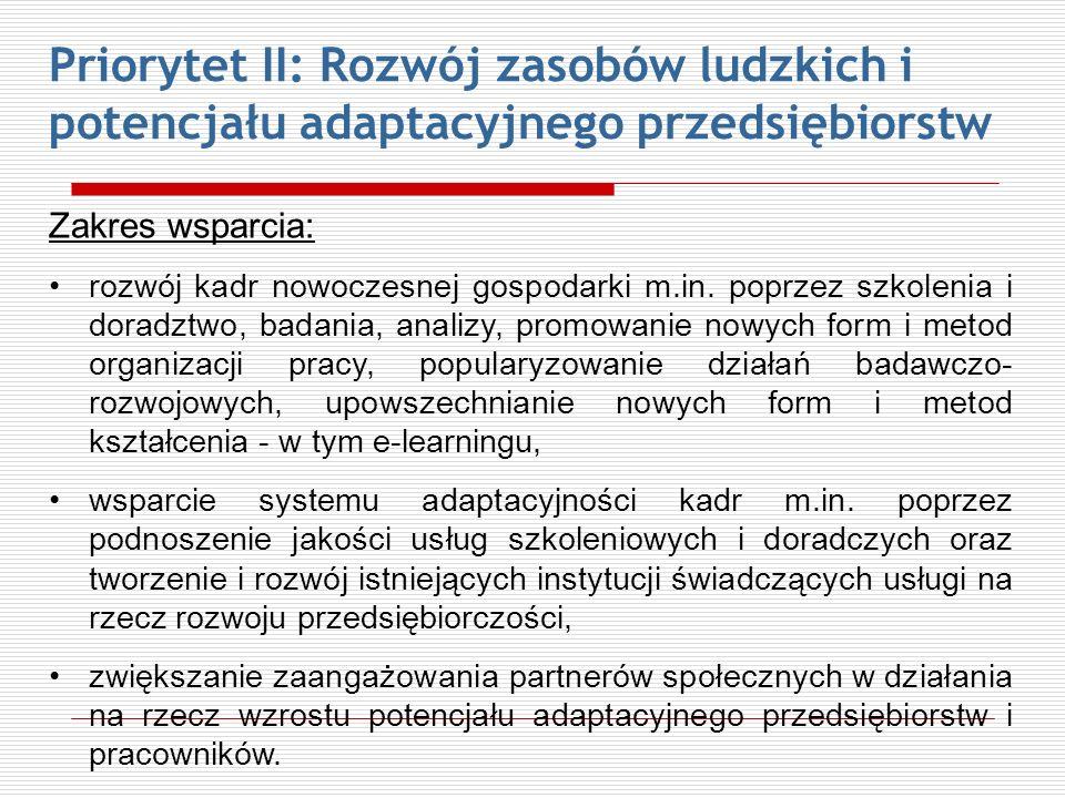 Priorytet II: Rozwój zasobów ludzkich i potencjału adaptacyjnego przedsiębiorstw Zakres wsparcia: rozwój kadr nowoczesnej gospodarki m.in. poprzez szk