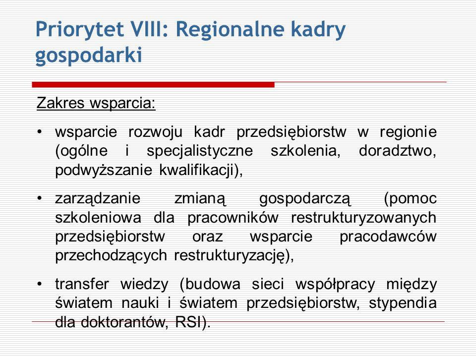 Priorytet VIII: Regionalne kadry gospodarki Zakres wsparcia: wsparcie rozwoju kadr przedsiębiorstw w regionie (ogólne i specjalistyczne szkolenia, dor
