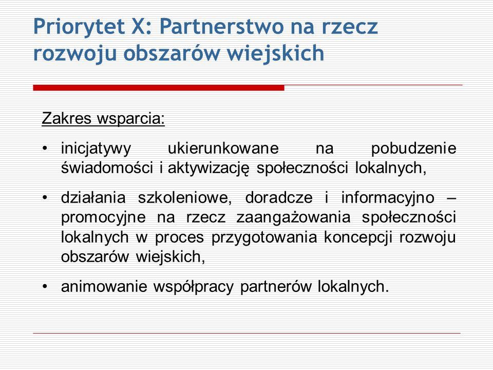 Priorytet X: Partnerstwo na rzecz rozwoju obszarów wiejskich Zakres wsparcia: inicjatywy ukierunkowane na pobudzenie świadomości i aktywizację społecz