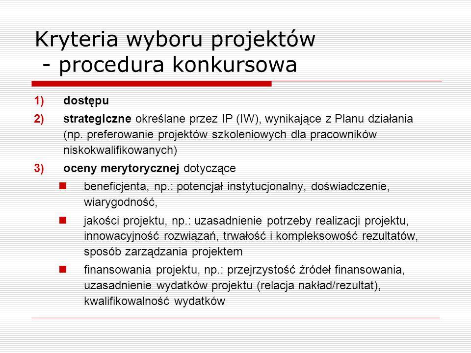 Kryteria wyboru projektów - procedura konkursowa 1)dostępu 2)strategiczne określane przez IP (IW), wynikające z Planu działania (np. preferowanie proj