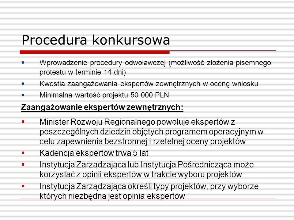 Procedura konkursowa Wprowadzenie procedury odwoławczej (możliwość złożenia pisemnego protestu w terminie 14 dni) Kwestia zaangażowania ekspertów zewn