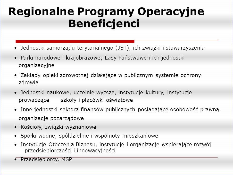 Regionalne Programy Operacyjne Beneficjenci Jednostki samorządu terytorialnego (JST), ich związki i stowarzyszenia Parki narodowe i krajobrazowe; Lasy