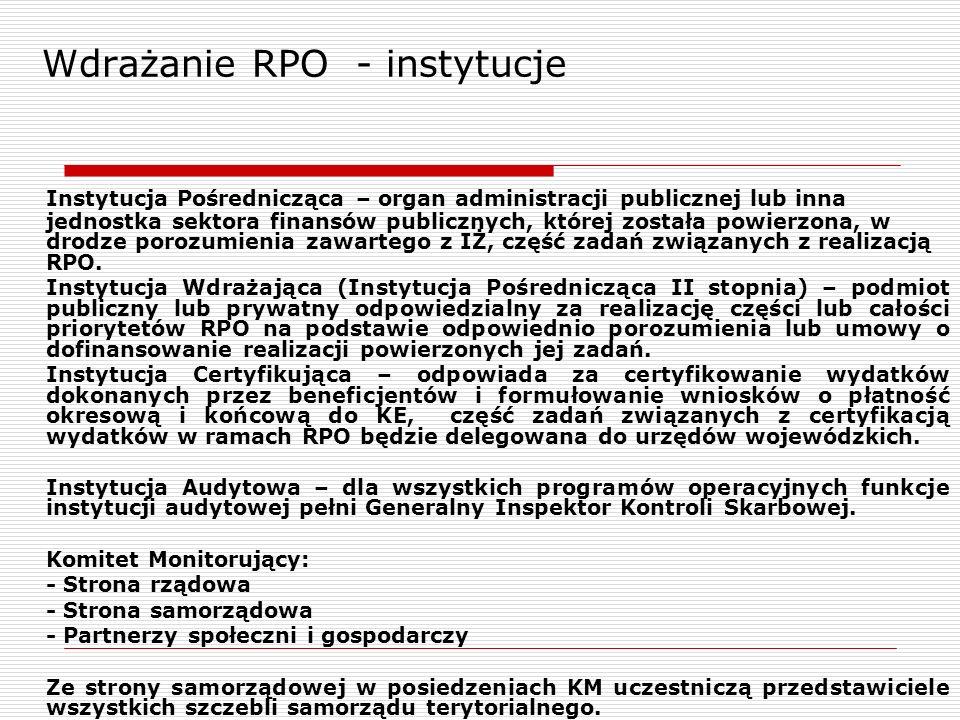 Instytucja Pośrednicząca – organ administracji publicznej lub inna jednostka sektora finansów publicznych, której została powierzona, w drodze porozum
