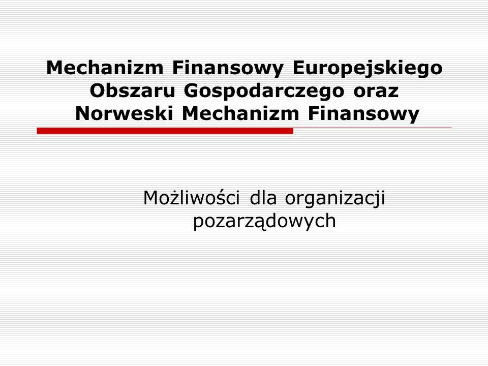Mechanizm Finansowy Europejskiego Obszaru Gospodarczego oraz Norweski Mechanizm Finansowy Możliwości dla organizacji pozarządowych