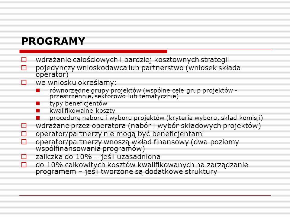 PROGRAMY wdrażanie całościowych i bardziej kosztownych strategii pojedynczy wnioskodawca lub partnerstwo (wniosek składa operator) we wniosku określam