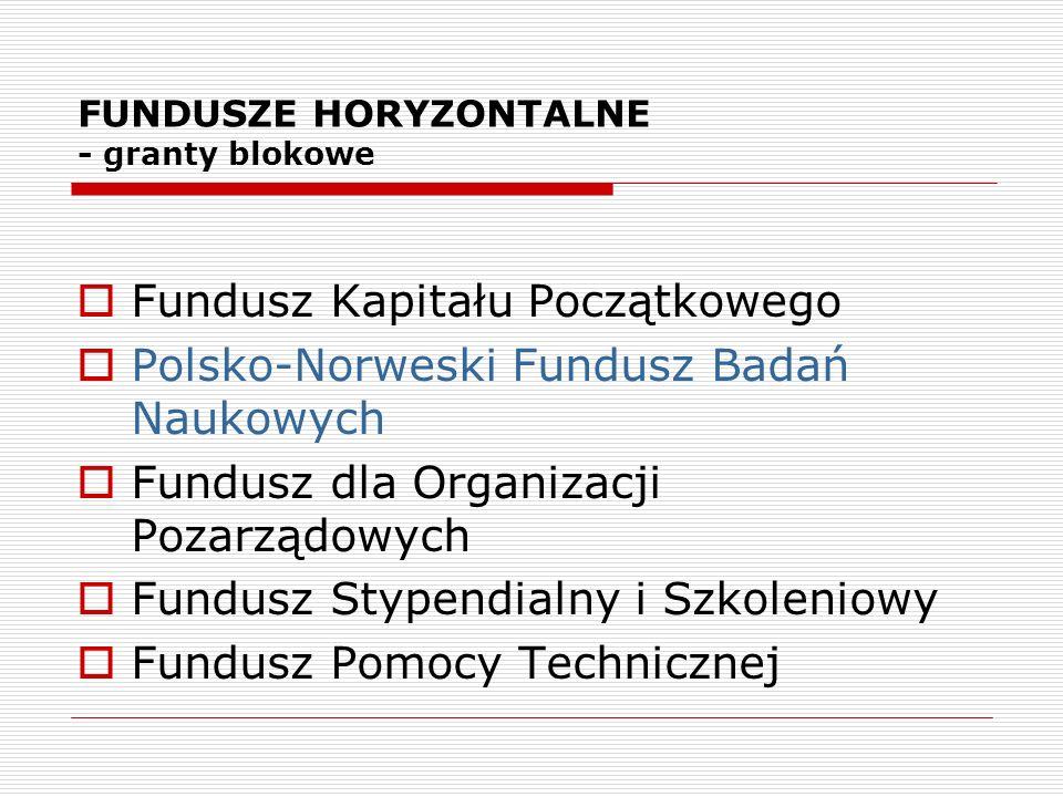 FUNDUSZE HORYZONTALNE - granty blokowe Fundusz Kapitału Początkowego Polsko-Norweski Fundusz Badań Naukowych Fundusz dla Organizacji Pozarządowych Fun