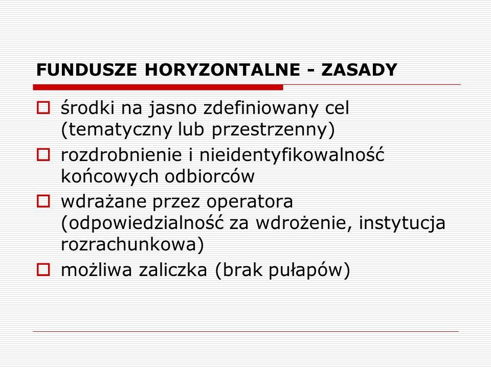 FUNDUSZE HORYZONTALNE - ZASADY środki na jasno zdefiniowany cel (tematyczny lub przestrzenny) rozdrobnienie i nieidentyfikowalność końcowych odbiorców