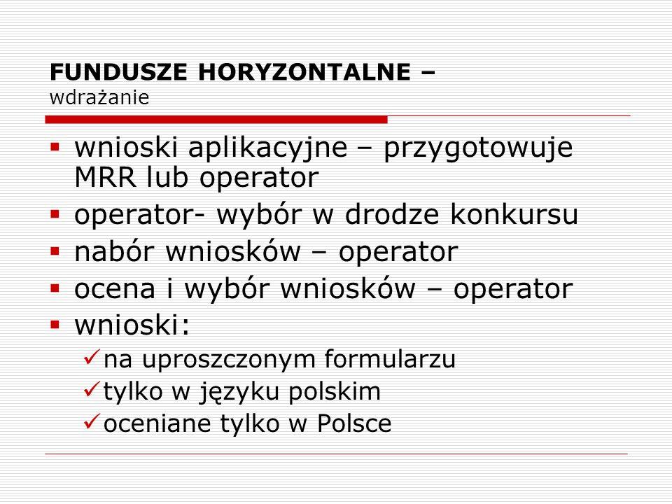 FUNDUSZE HORYZONTALNE – wdrażanie wnioski aplikacyjne – przygotowuje MRR lub operator operator- wybór w drodze konkursu nabór wniosków – operator ocen