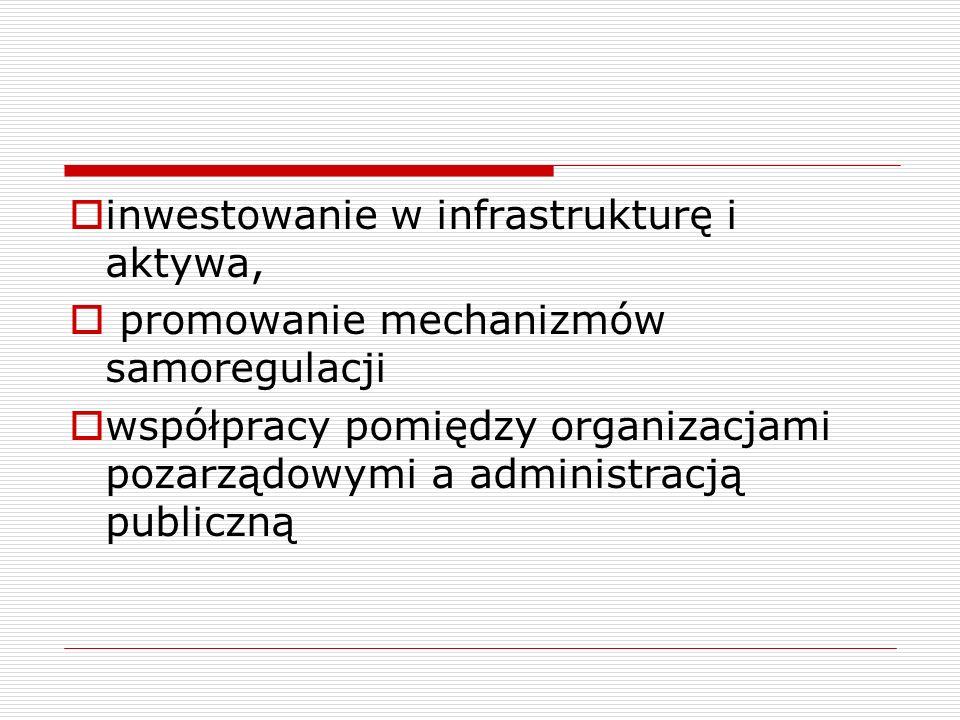 inwestowanie w infrastrukturę i aktywa, promowanie mechanizmów samoregulacji współpracy pomiędzy organizacjami pozarządowymi a administracją publiczną