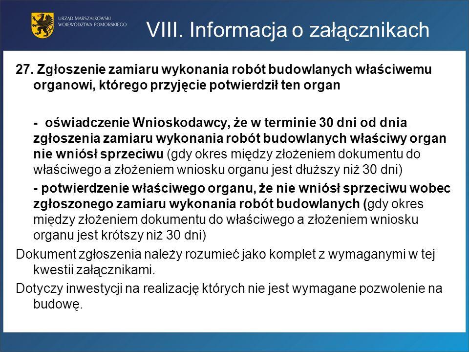 27. Zgłoszenie zamiaru wykonania robót budowlanych właściwemu organowi, którego przyjęcie potwierdził ten organ - oświadczenie Wnioskodawcy, że w term