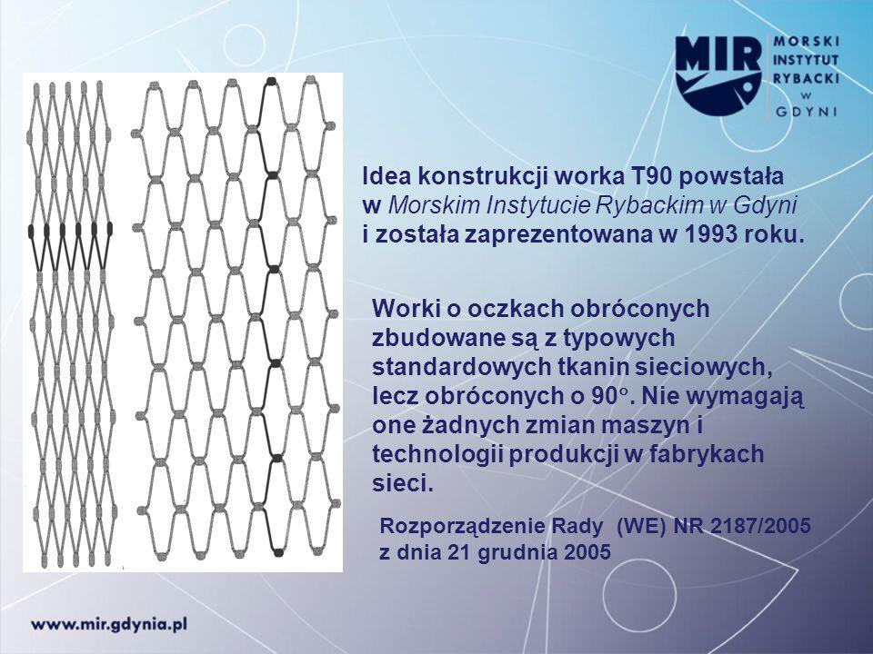 Idea konstrukcji worka T90 powstała w Morskim Instytucie Rybackim w Gdyni i została zaprezentowana w 1993 roku. Worki o oczkach obróconych zbudowane s
