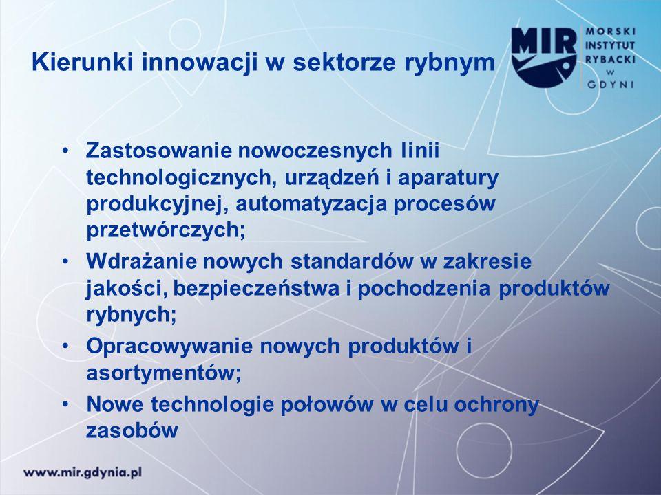 Kierunki innowacji w sektorze rybnym Zastosowanie nowoczesnych linii technologicznych, urządzeń i aparatury produkcyjnej, automatyzacja procesów przet