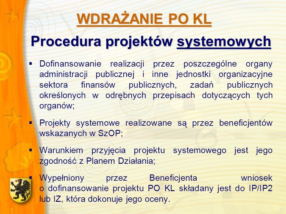 Procedura projektów systemowych Dofinansowanie realizacji przez poszczególne organy administracji publicznej i inne jednostki organizacyjne sektora finansów publicznych, zadań publicznych określonych w odrębnych przepisach dotyczących tych organów; Projekty systemowe realizowane są przez beneficjentów wskazanych w SzOP; Warunkiem przyjęcia projektu systemowego jest jego zgodność z Planem Działania; Wypełniony przez Beneficjenta wniosek o dofinansowanie projektu PO KL składany jest do IP/IP2 lub IZ, która dokonuje jego oceny.