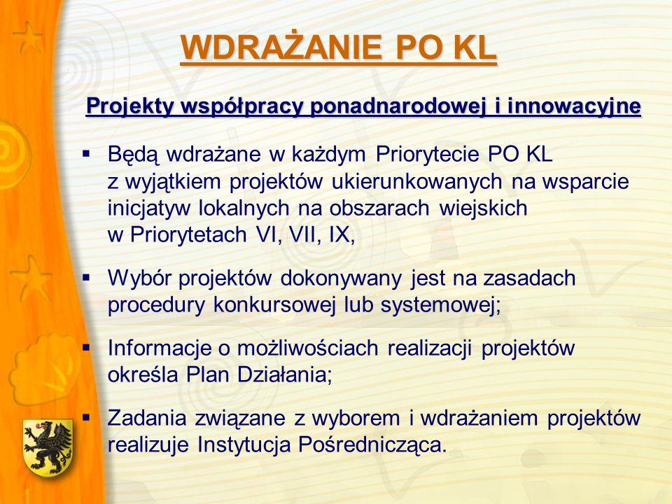 Projekty współpracy ponadnarodowej i innowacyjne Będą wdrażane w każdym Priorytecie PO KL z wyjątkiem projektów ukierunkowanych na wsparcie inicjatyw lokalnych na obszarach wiejskich w Priorytetach VI, VII, IX, Wybór projektów dokonywany jest na zasadach procedury konkursowej lub systemowej; Informacje o możliwościach realizacji projektów określa Plan Działania; Zadania związane z wyborem i wdrażaniem projektów realizuje Instytucja Pośrednicząca.