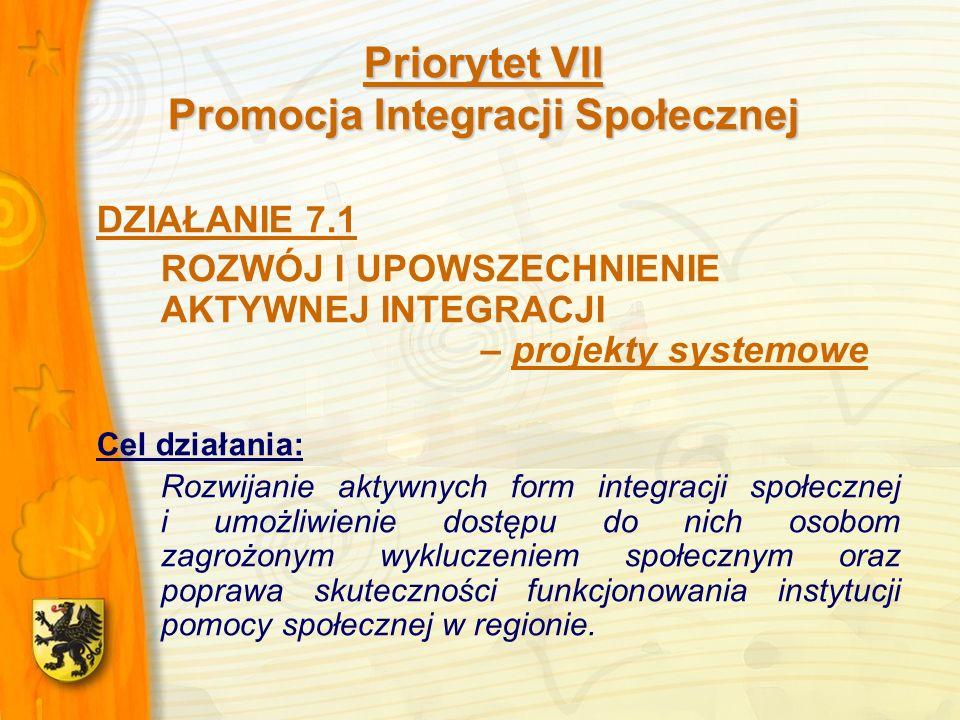 Priorytet VII Promocja Integracji Społecznej DZIAŁANIE 7.1 ROZWÓJ I UPOWSZECHNIENIE AKTYWNEJ INTEGRACJI – projekty systemowe Cel działania: Rozwijanie aktywnych form integracji społecznej i umożliwienie dostępu do nich osobom zagrożonym wykluczeniem społecznym oraz poprawa skuteczności funkcjonowania instytucji pomocy społecznej w regionie.