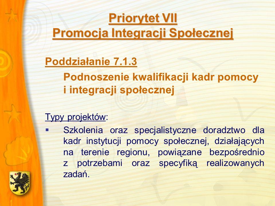 Priorytet VII Promocja Integracji Społecznej Poddziałanie 7.1.3 Podnoszenie kwalifikacji kadr pomocy i integracji społecznej Typy projektów: Szkolenia oraz specjalistyczne doradztwo dla kadr instytucji pomocy społecznej, działających na terenie regionu, powiązane bezpośrednio z potrzebami oraz specyfiką realizowanych zadań.