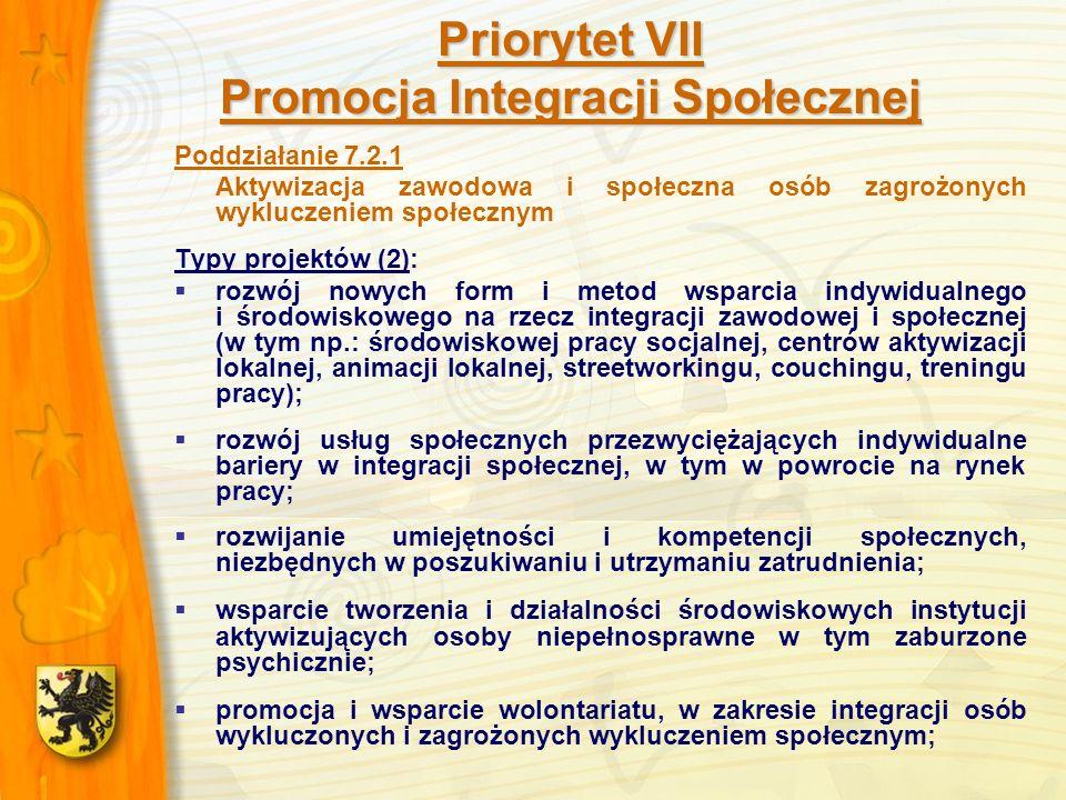 Priorytet VII Promocja Integracji Społecznej Poddziałanie 7.2.1 Aktywizacja zawodowa i społeczna osób zagrożonych wykluczeniem społecznym Typy projektów (2): rozwój nowych form i metod wsparcia indywidualnego i środowiskowego na rzecz integracji zawodowej i społecznej (w tym np.: środowiskowej pracy socjalnej, centrów aktywizacji lokalnej, animacji lokalnej, streetworkingu, couchingu, treningu pracy); rozwój usług społecznych przezwyciężających indywidualne bariery w integracji społecznej, w tym w powrocie na rynek pracy; rozwijanie umiejętności i kompetencji społecznych, niezbędnych w poszukiwaniu i utrzymaniu zatrudnienia; wsparcie tworzenia i działalności środowiskowych instytucji aktywizujących osoby niepełnosprawne w tym zaburzone psychicznie; promocja i wsparcie wolontariatu, w zakresie integracji osób wykluczonych i zagrożonych wykluczeniem społecznym;