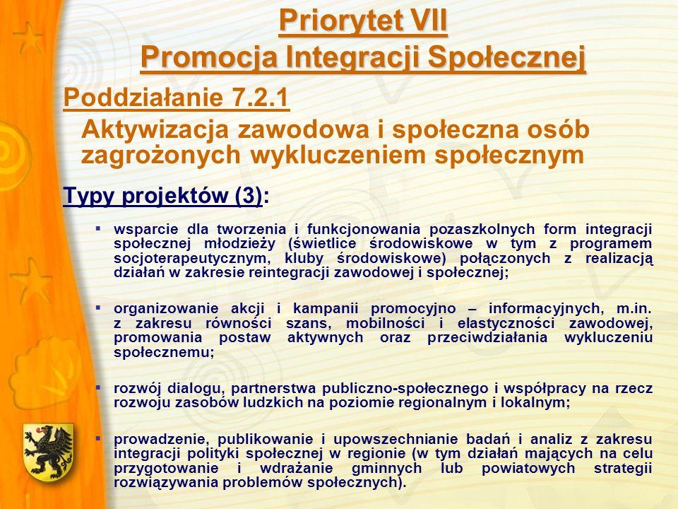 Priorytet VII Promocja Integracji Społecznej Poddziałanie 7.2.1 Aktywizacja zawodowa i społeczna osób zagrożonych wykluczeniem społecznym Typy projektów (3): wsparcie dla tworzenia i funkcjonowania pozaszkolnych form integracji społecznej młodzieży (świetlice środowiskowe w tym z programem socjoterapeutycznym, kluby środowiskowe) połączonych z realizacją działań w zakresie reintegracji zawodowej i społecznej; organizowanie akcji i kampanii promocyjno – informacyjnych, m.in.