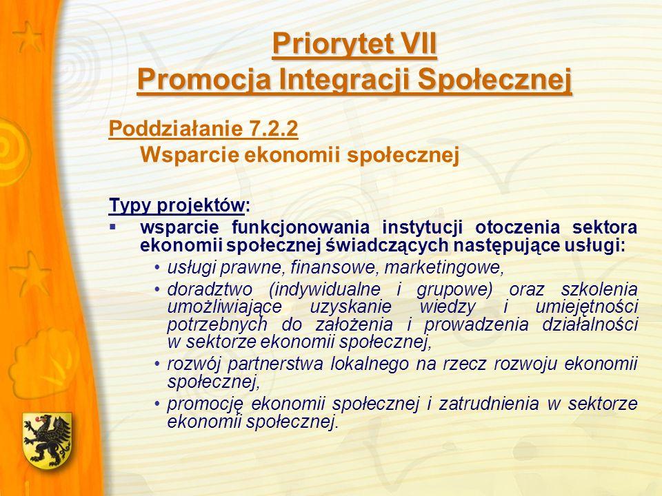 Priorytet VII Promocja Integracji Społecznej Poddziałanie 7.2.2 Wsparcie ekonomii społecznej Typy projektów: wsparcie funkcjonowania instytucji otoczenia sektora ekonomii społecznej świadczących następujące usługi: usługi prawne, finansowe, marketingowe, doradztwo (indywidualne i grupowe) oraz szkolenia umożliwiające uzyskanie wiedzy i umiejętności potrzebnych do założenia i prowadzenia działalności w sektorze ekonomii społecznej, rozwój partnerstwa lokalnego na rzecz rozwoju ekonomii społecznej, promocję ekonomii społecznej i zatrudnienia w sektorze ekonomii społecznej.