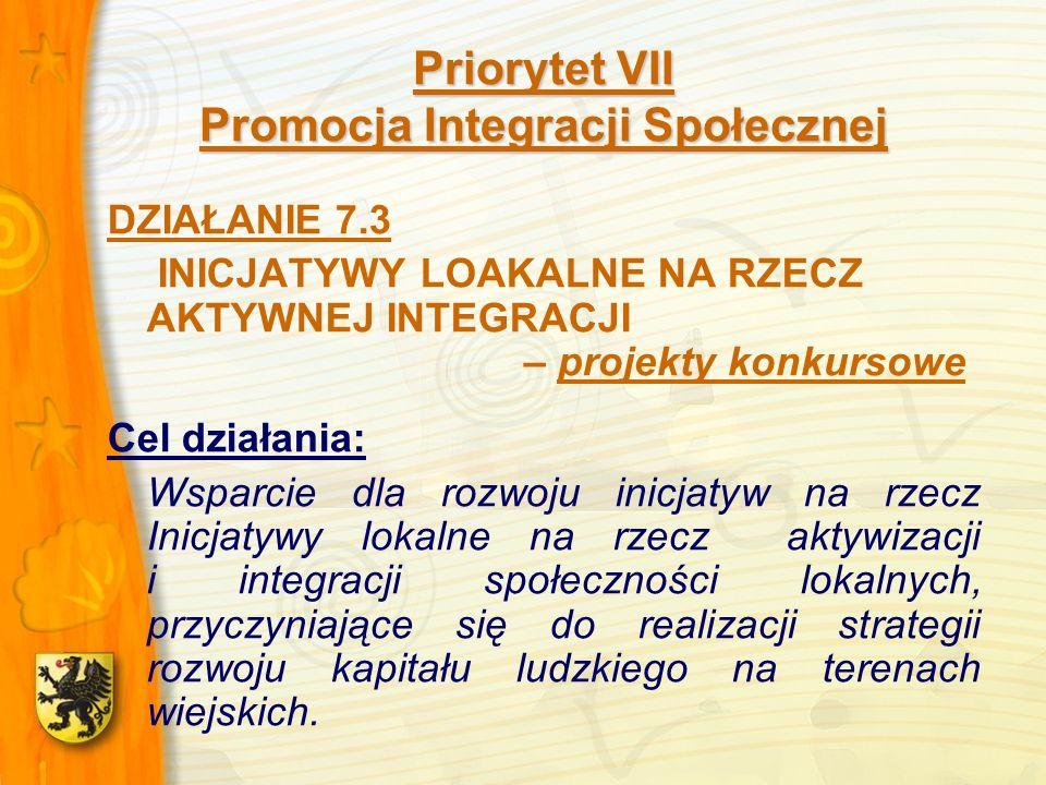Priorytet VII Promocja Integracji Społecznej DZIAŁANIE 7.3 INICJATYWY LOAKALNE NA RZECZ AKTYWNEJ INTEGRACJI – projekty konkursowe Cel działania: Wsparcie dla rozwoju inicjatyw na rzecz Inicjatywy lokalne na rzecz aktywizacji i integracji społeczności lokalnych, przyczyniające się do realizacji strategii rozwoju kapitału ludzkiego na terenach wiejskich.