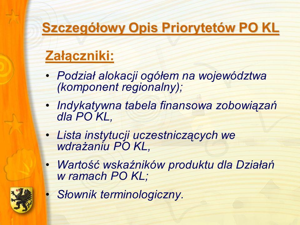 Szczegółowy Opis Priorytetów PO KL Załączniki: Podział alokacji ogółem na województwa (komponent regionalny); Indykatywna tabela finansowa zobowiązań dla PO KL, Lista instytucji uczestniczących we wdrażaniu PO KL, Wartość wskaźników produktu dla Działań w ramach PO KL; Słownik terminologiczny.
