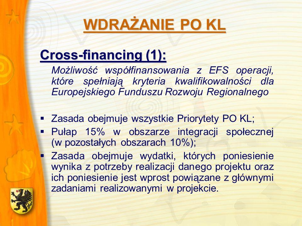 Cross-financing (1): Możliwość współfinansowania z EFS operacji, które spełniają kryteria kwalifikowalności dla Europejskiego Funduszu Rozwoju Regionalnego Zasada obejmuje wszystkie Priorytety PO KL; Pułap 15% w obszarze integracji społecznej (w pozostałych obszarach 10%); Zasada obejmuje wydatki, których poniesienie wynika z potrzeby realizacji danego projektu oraz ich poniesienie jest wprost powiązane z głównymi zadaniami realizowanymi w projekcie.