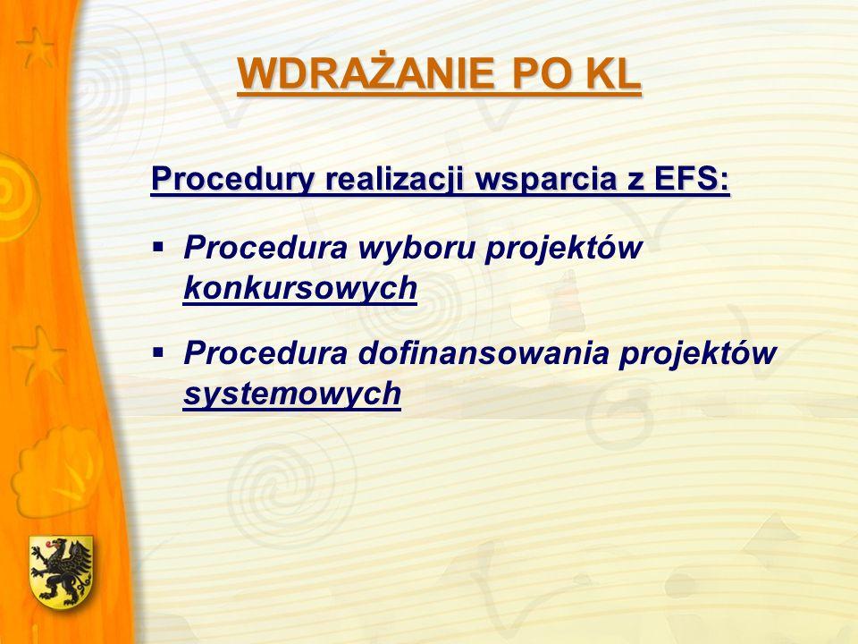 Procedury realizacji wsparcia z EFS: Procedura wyboru projektów konkursowych Procedura dofinansowania projektów systemowych WDRAŻANIE PO KL