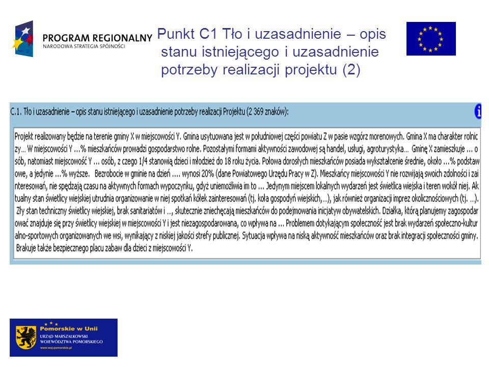 Punkt C1 Tło i uzasadnienie – opis stanu istniejącego i uzasadnienie potrzeby realizacji projektu (2)