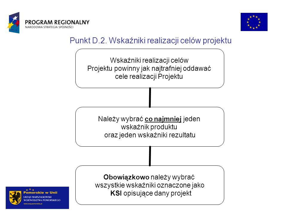 Punkt D.2. Wskaźniki realizacji celów projektu Wskaźniki realizacji celów Projektu powinny jak najtrafniej oddawać cele realizacji Projektu Należy wyb