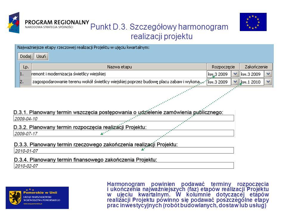 Punkt D.3. Szczegółowy harmonogram realizacji projektu Harmonogram powinien podawać terminy rozpoczęcia i ukończenia najważniejszych (faz) etapów real